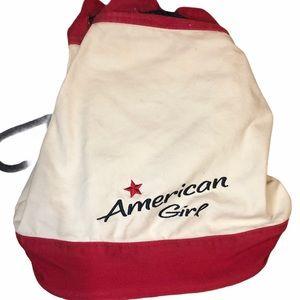 American Girl Drawstring Sling Duffel Canvas Bag